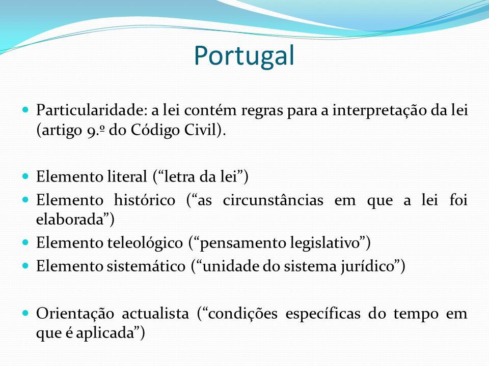 Portugal Particularidade: a lei contém regras para a interpretação da lei (artigo 9.º do Código Civil).
