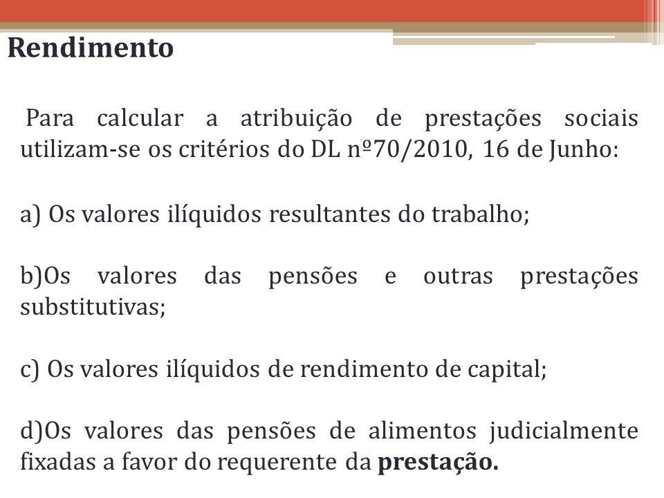 Rendimento Para calcular a atribuição de prestações sociais utilizam-se os critérios do DL nº70/2010, 16 de Junho: