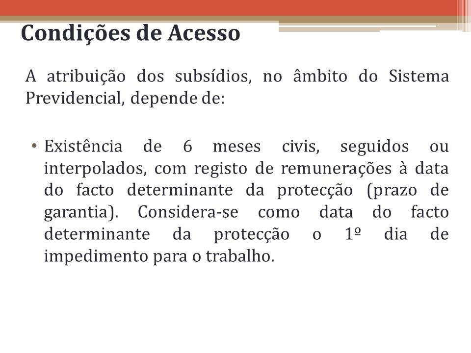 Condições de Acesso A atribuição dos subsídios, no âmbito do Sistema Previdencial, depende de: