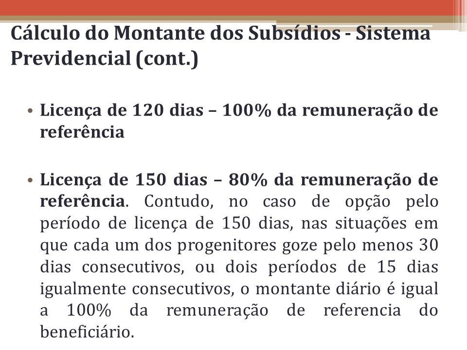 Cálculo do Montante dos Subsídios - Sistema Previdencial (cont.)