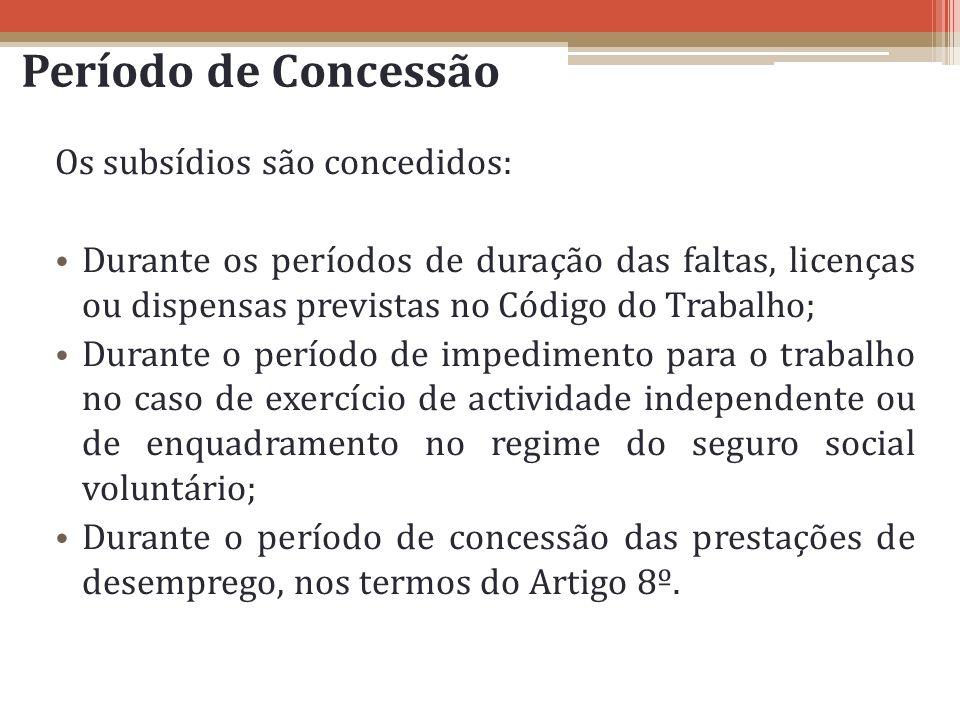 Período de Concessão Os subsídios são concedidos: