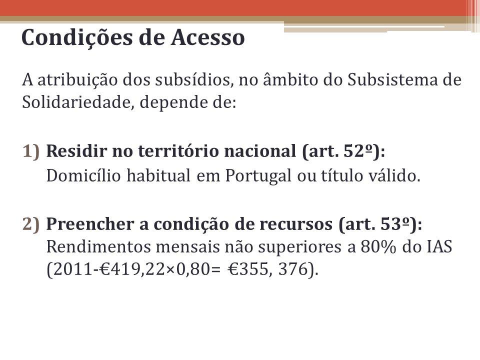 Condições de Acesso A atribuição dos subsídios, no âmbito do Subsistema de Solidariedade, depende de: