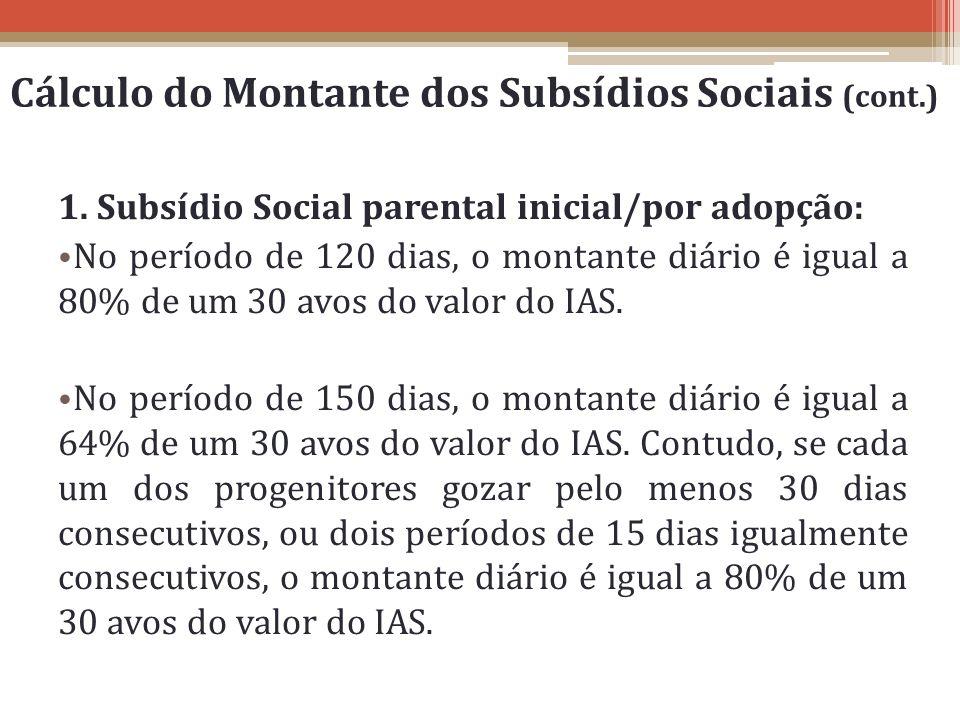 Cálculo do Montante dos Subsídios Sociais (cont.)
