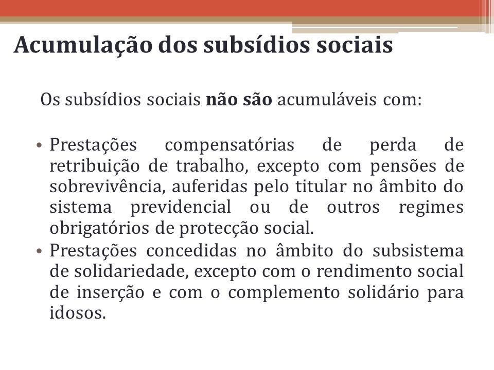 Acumulação dos subsídios sociais