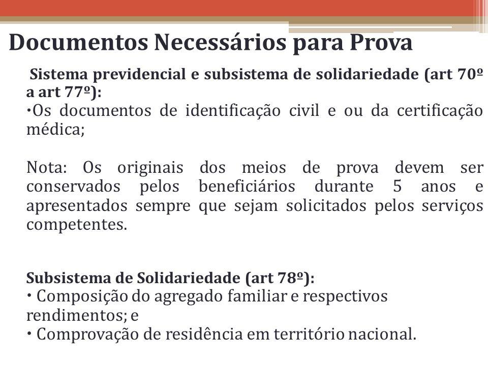 Documentos Necessários para Prova