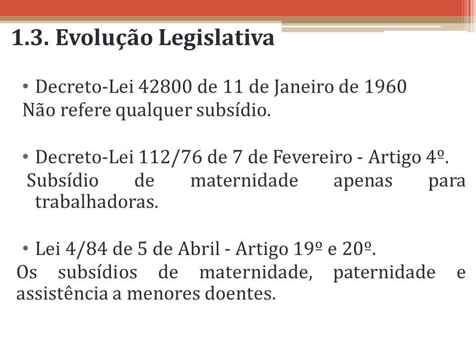 1.3. Evolução Legislativa Decreto-Lei 42800 de 11 de Janeiro de 1960