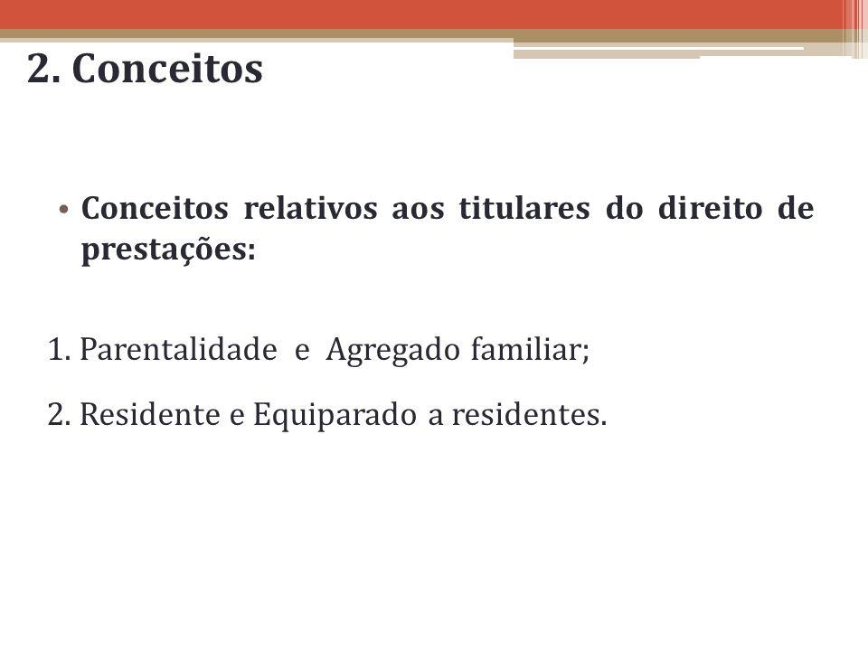 2. Conceitos Conceitos relativos aos titulares do direito de prestações: 1. Parentalidade e Agregado familiar;
