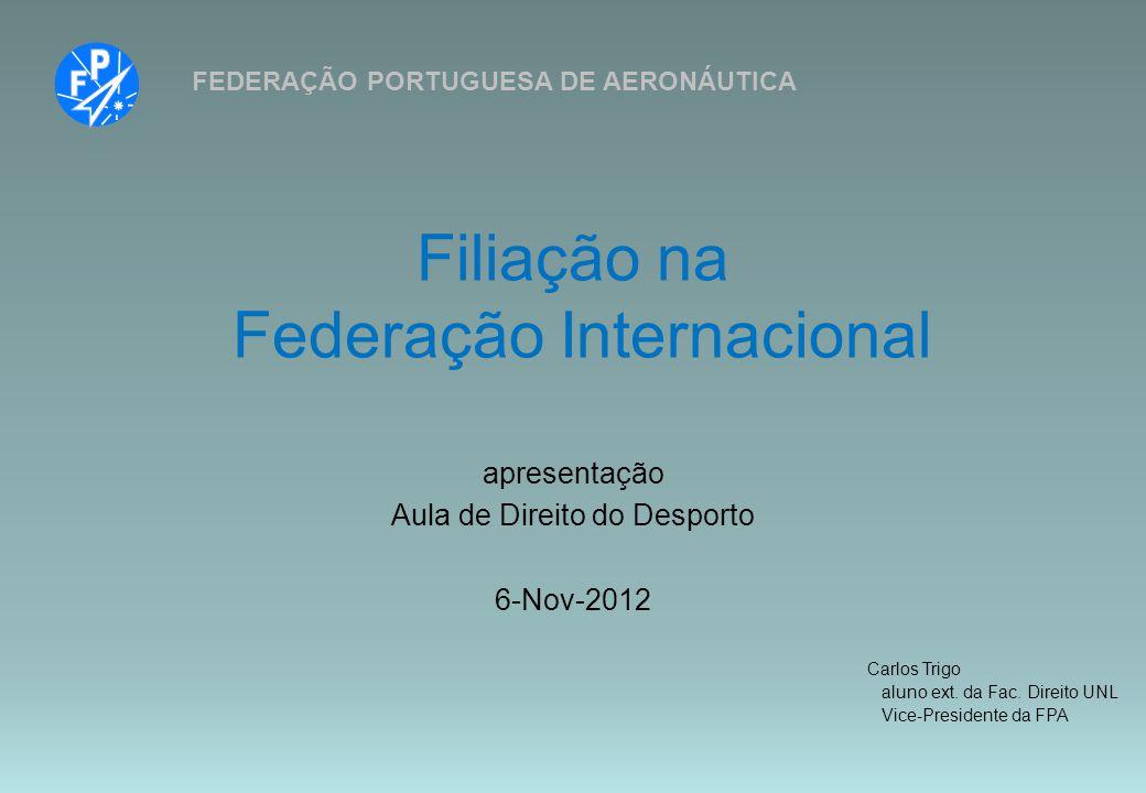 Filiação na Federação Internacional