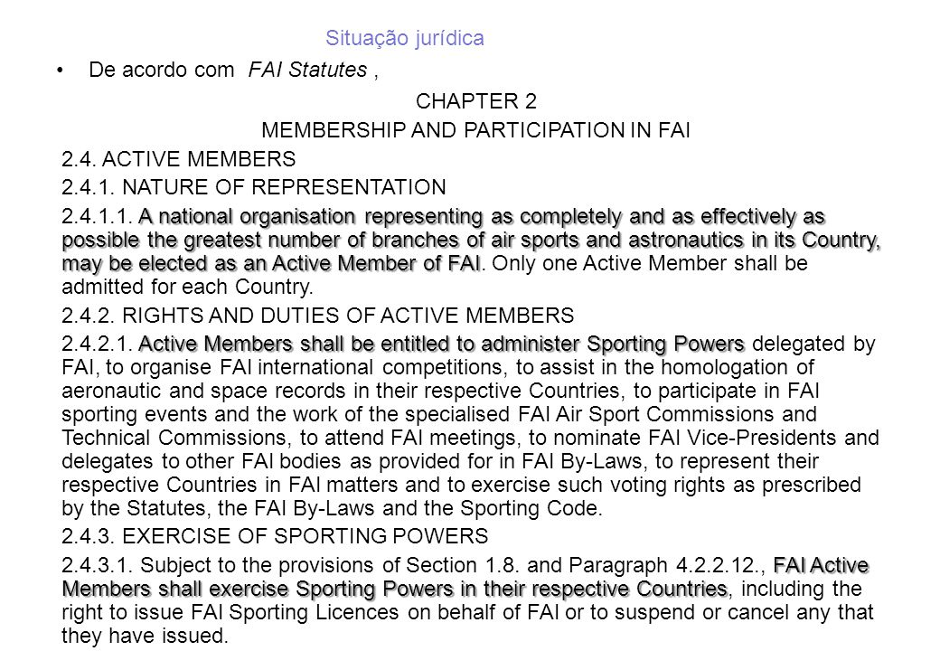 MEMBERSHIP AND PARTICIPATION IN FAI