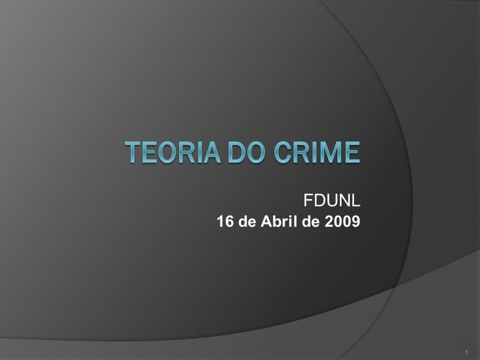 Teoria do Crime FDUNL 16 de Abril de 2009