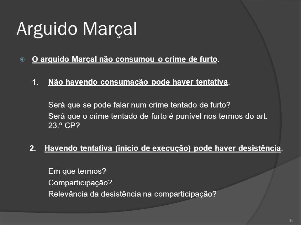 Arguido Marçal O arguido Marçal não consumou o crime de furto.