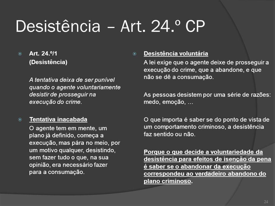 Desistência – Art. 24.º CP Desistência voluntária Art. 24.º/1