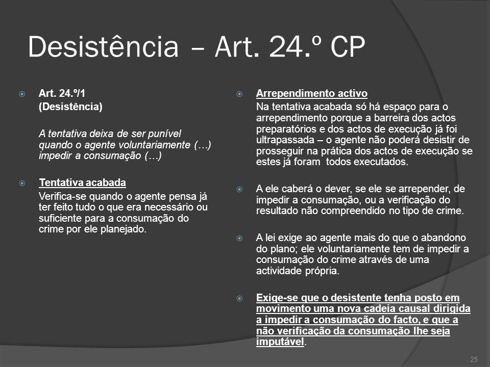 Desistência – Art. 24.º CP Art. 24.º/1 (Desistência)