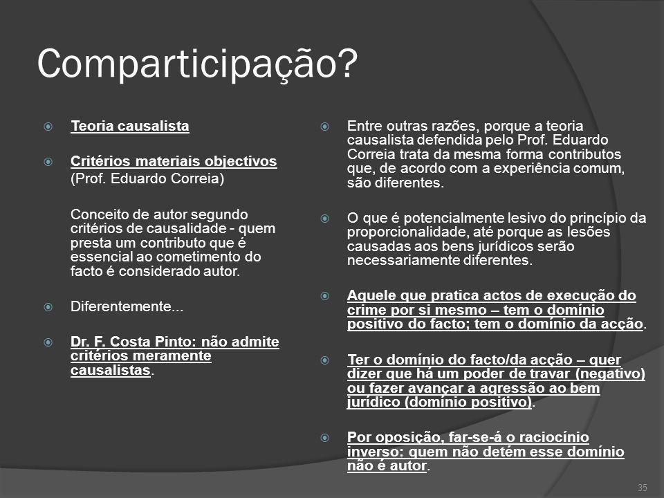 Comparticipação Teoria causalista Critérios materiais objectivos