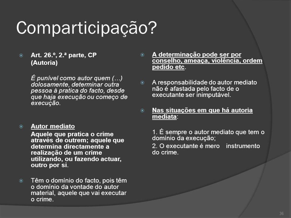 Comparticipação A determinação pode ser por conselho, ameaça, violência, ordem pedido etc.