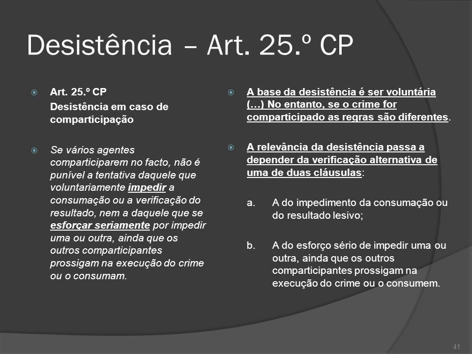 Desistência – Art. 25.º CP Art. 25.º CP