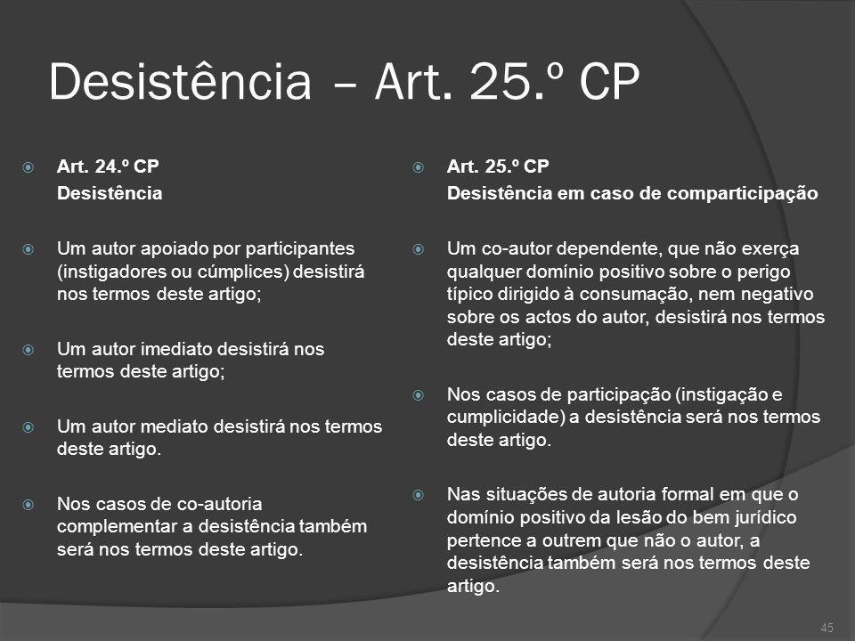 Desistência – Art. 25.º CP Art. 24.º CP Desistência