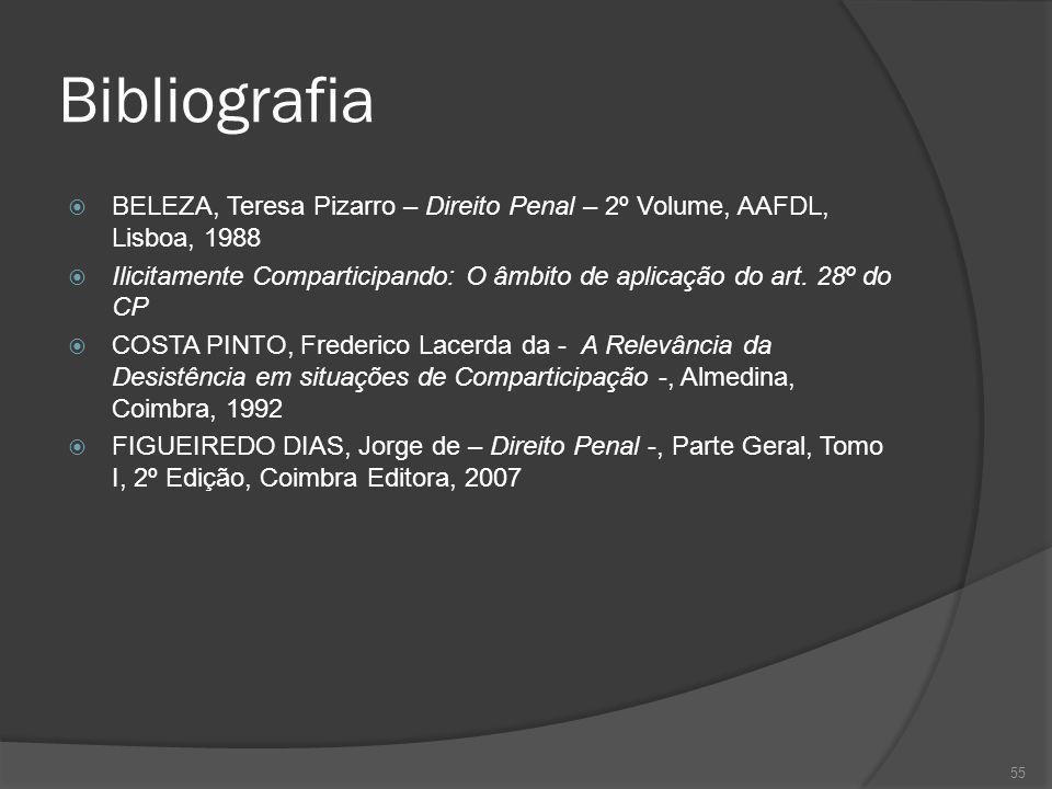 Bibliografia BELEZA, Teresa Pizarro – Direito Penal – 2º Volume, AAFDL, Lisboa, 1988.
