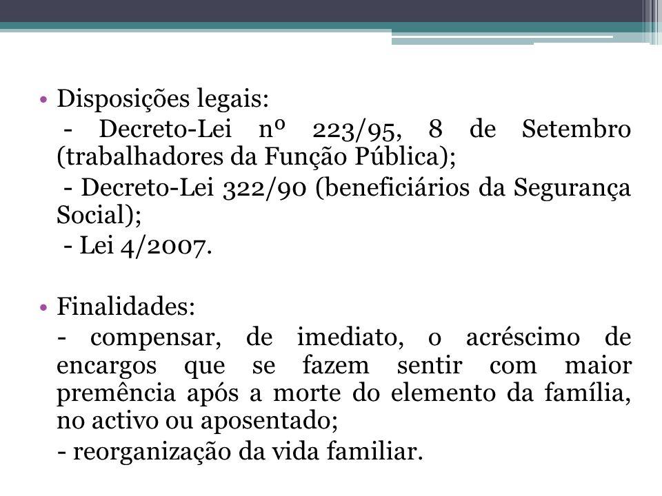 Disposições legais: - Decreto-Lei nº 223/95, 8 de Setembro (trabalhadores da Função Pública);