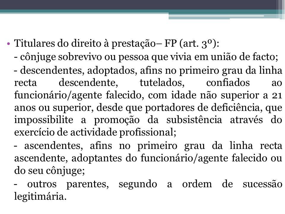Titulares do direito à prestação– FP (art. 3º):