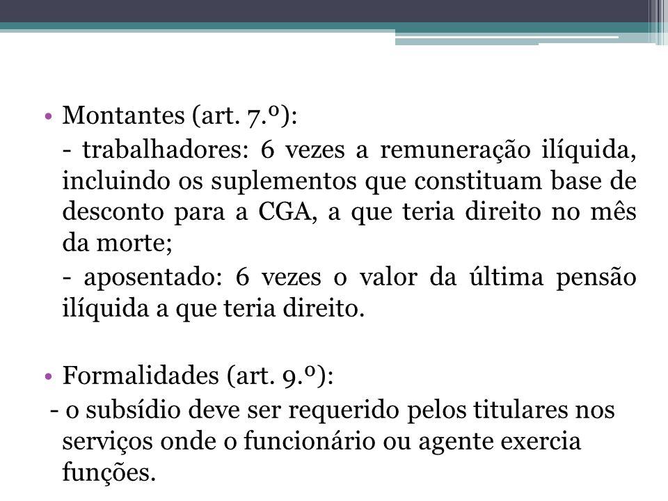 Montantes (art. 7.º):