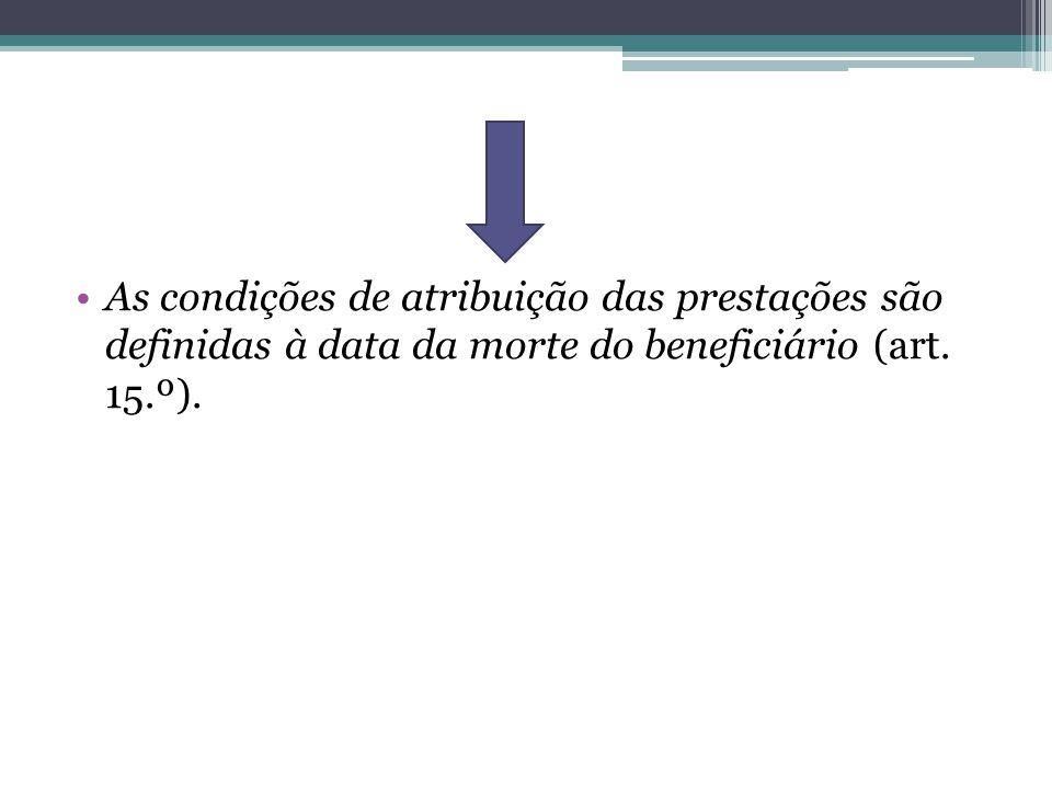 As condições de atribuição das prestações são definidas à data da morte do beneficiário (art. 15.º).