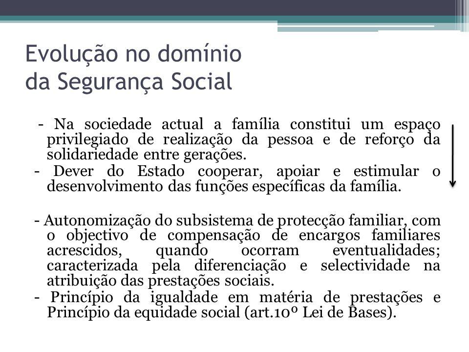 Evolução no domínio da Segurança Social