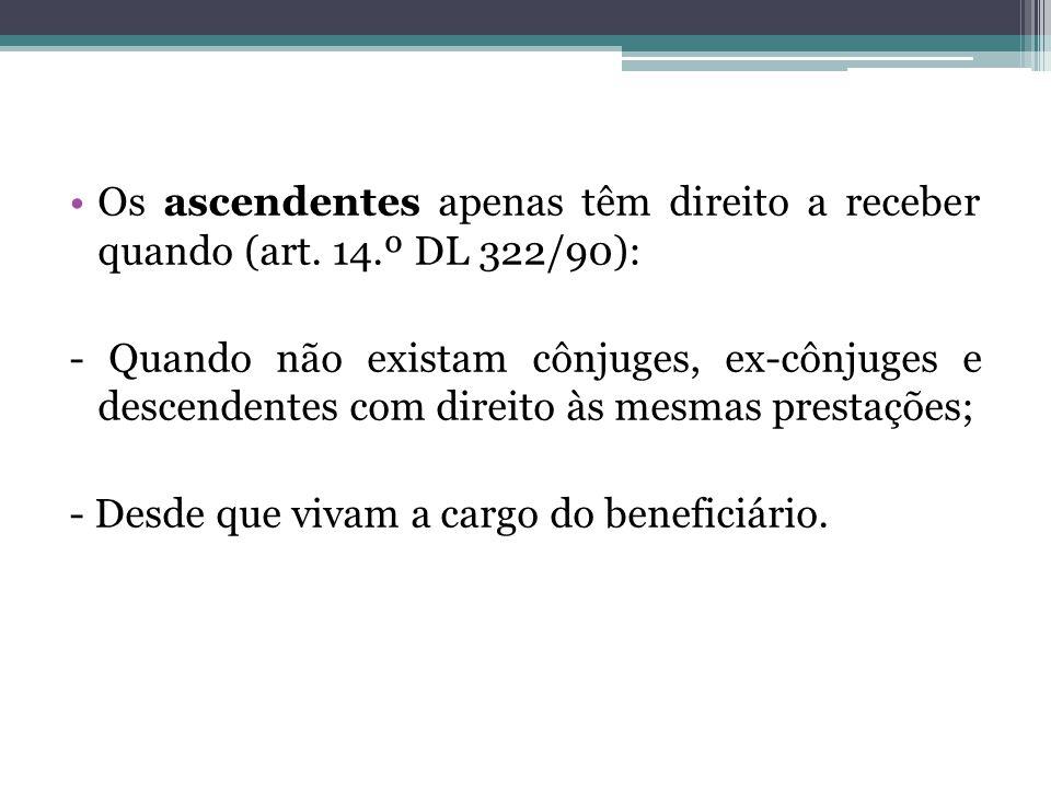 Os ascendentes apenas têm direito a receber quando (art. 14