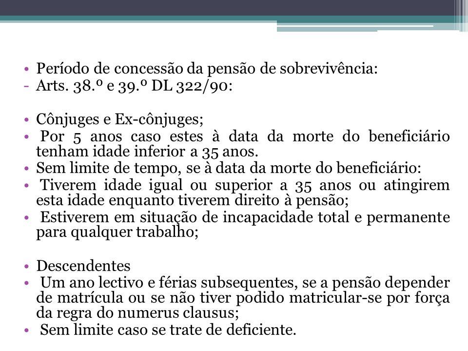 Período de concessão da pensão de sobrevivência: