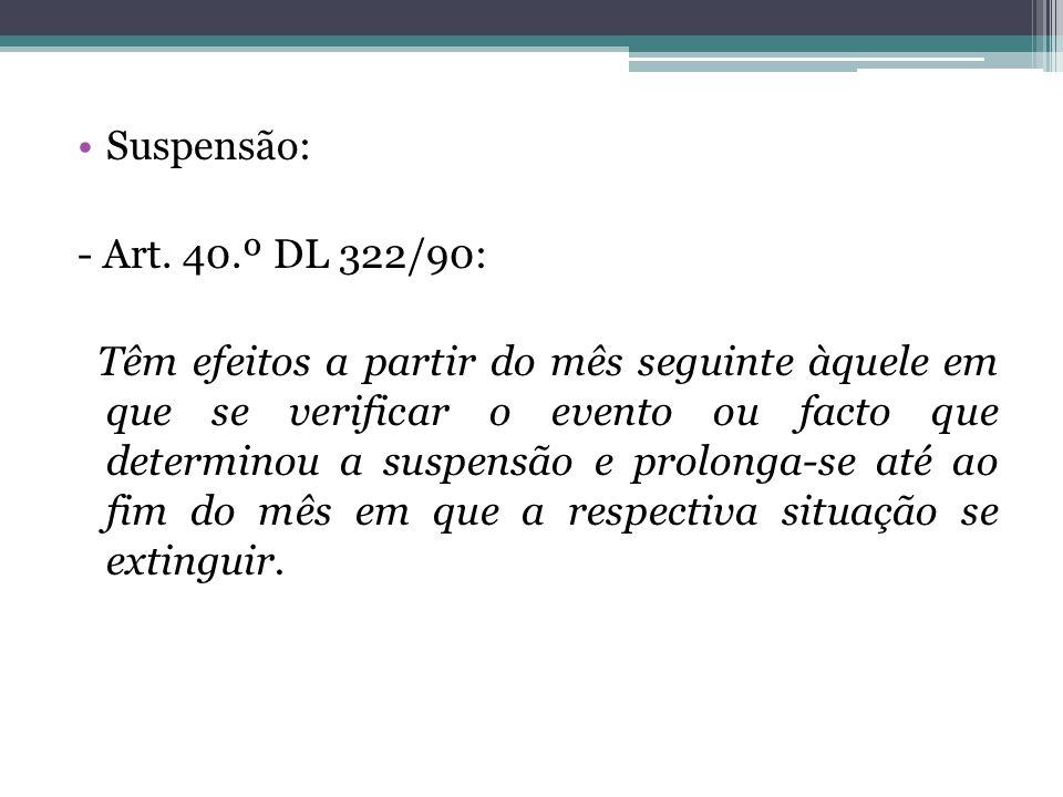Suspensão: - Art. 40.º DL 322/90: