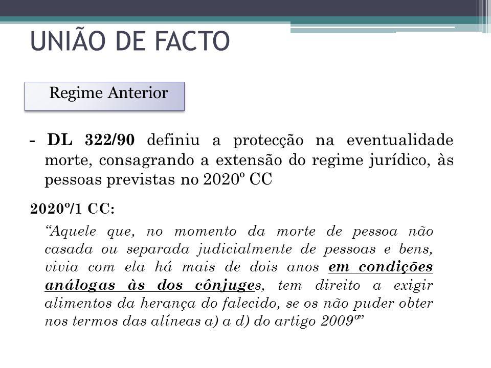 UNIÃO DE FACTO Regime Anterior