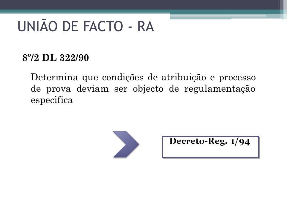 UNIÃO DE FACTO - RA 8º/2 DL 322/90