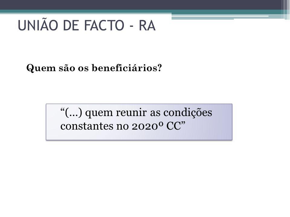 UNIÃO DE FACTO - RA Quem são os beneficiários.