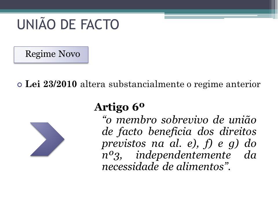 UNIÃO DE FACTO Regime Novo. Lei 23/2010 altera substancialmente o regime anterior.
