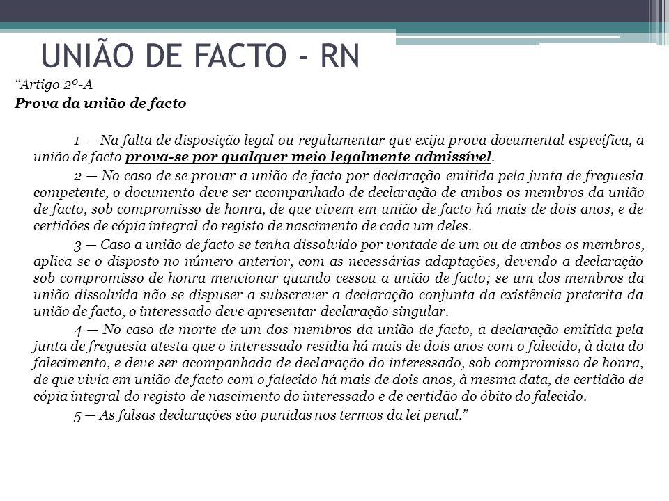 UNIÃO DE FACTO - RN