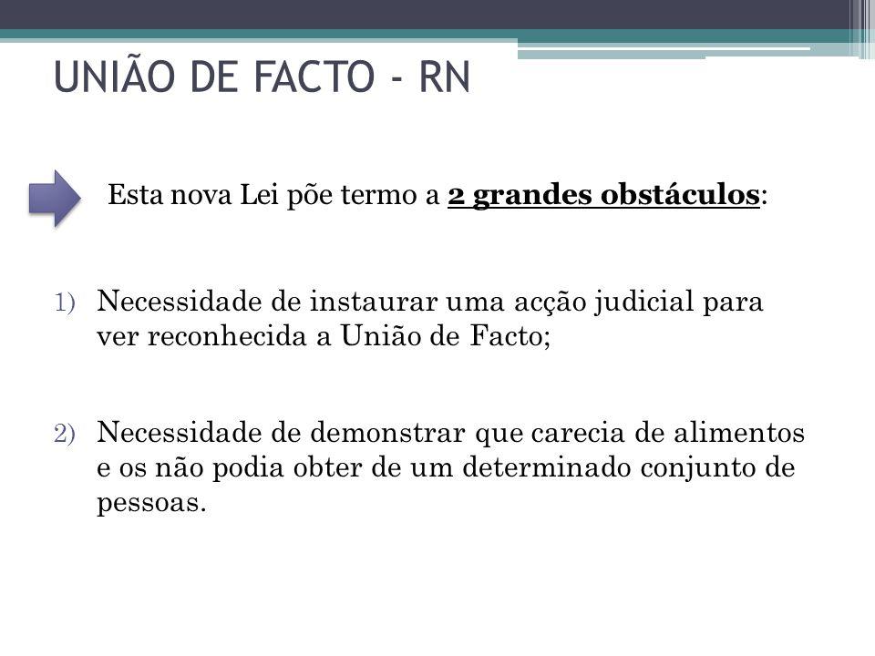 UNIÃO DE FACTO - RN Esta nova Lei põe termo a 2 grandes obstáculos: