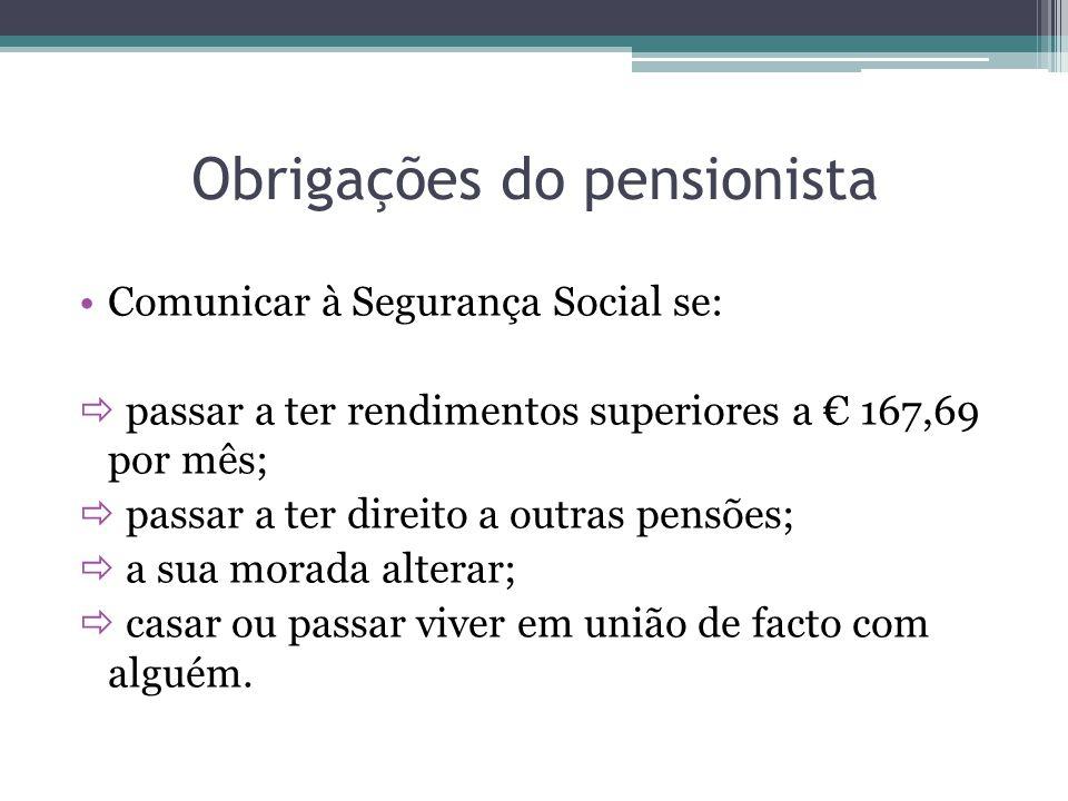 Obrigações do pensionista