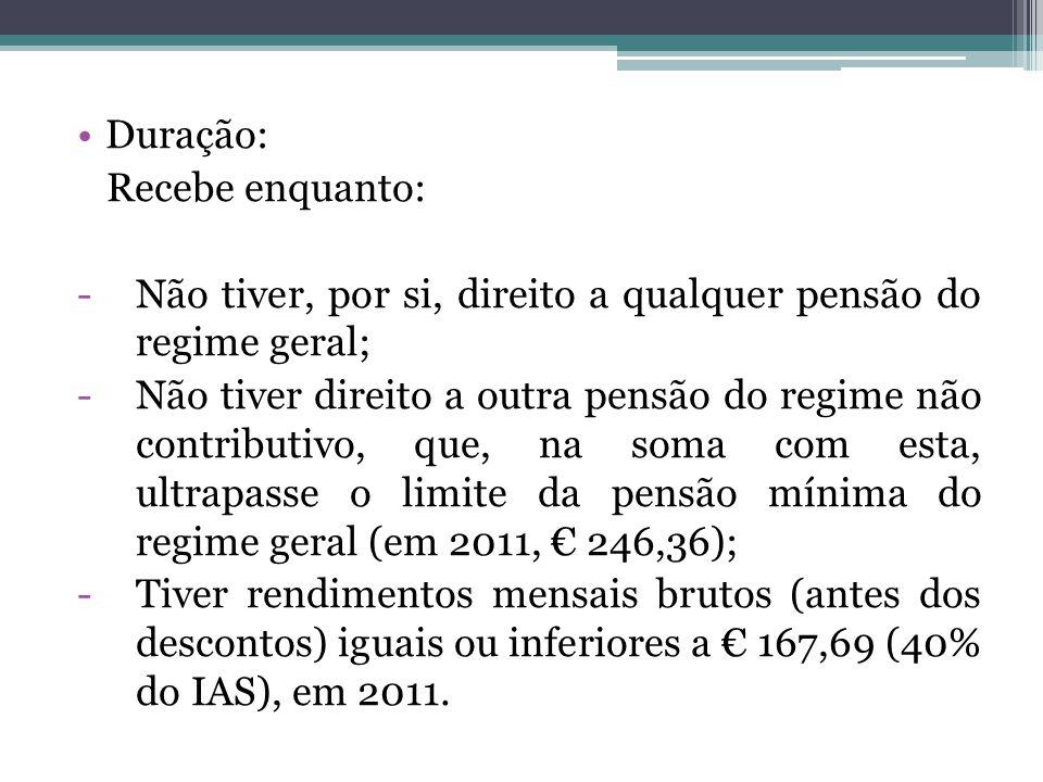 Duração: Recebe enquanto: Não tiver, por si, direito a qualquer pensão do regime geral;