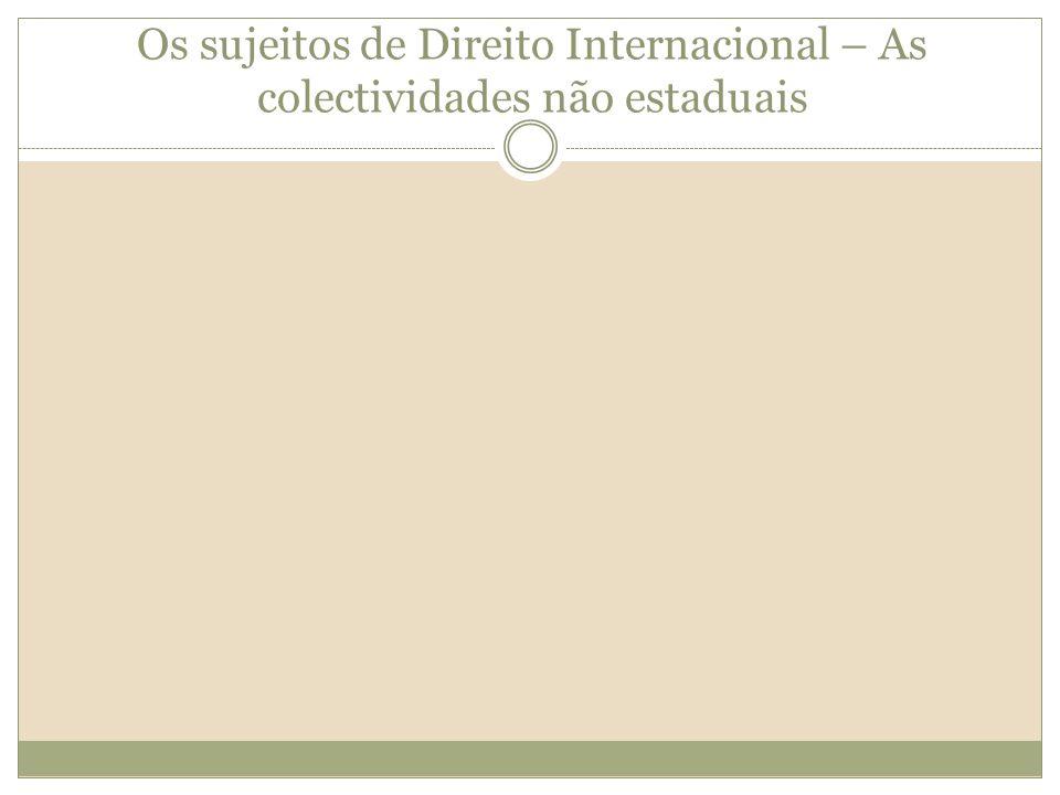 Os sujeitos de Direito Internacional – As colectividades não estaduais