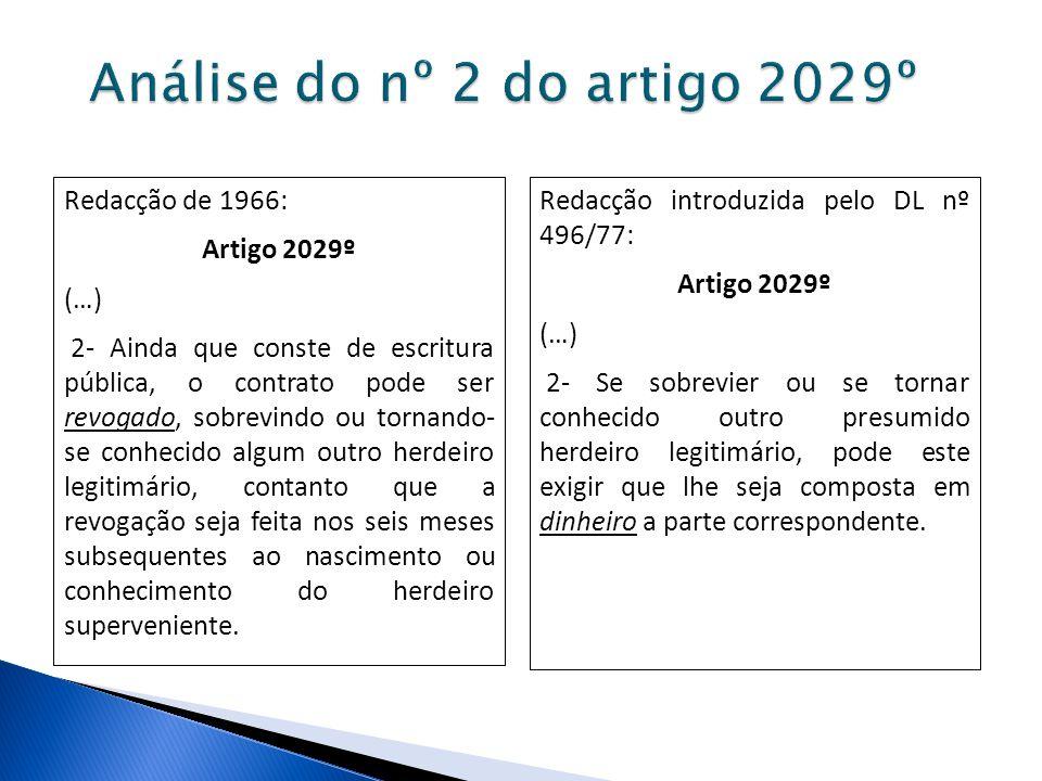 Análise do nº 2 do artigo 2029º