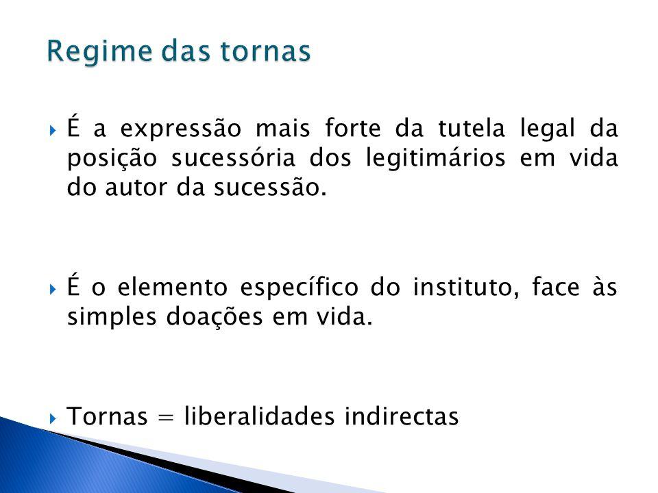 Regime das tornas É a expressão mais forte da tutela legal da posição sucessória dos legitimários em vida do autor da sucessão.