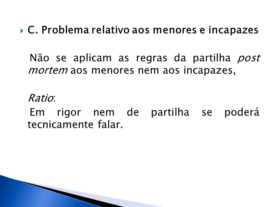 C. Problema relativo aos menores e incapazes