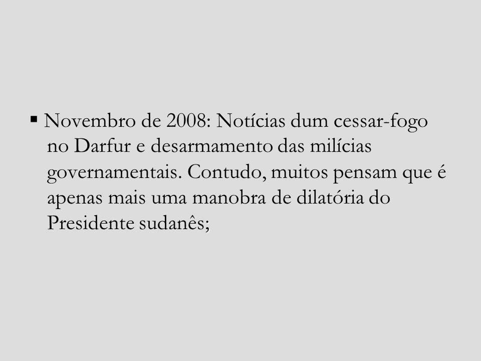  Novembro de 2008: Notícias dum cessar-fogo no Darfur e desarmamento das milícias governamentais.