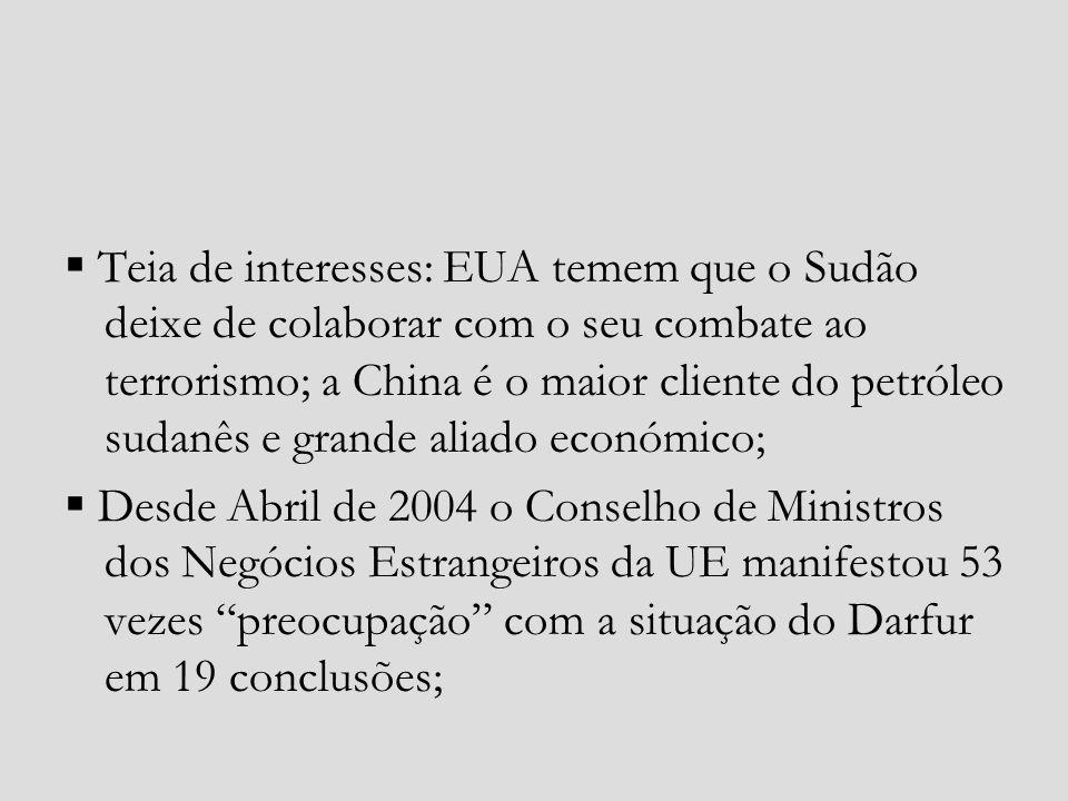  Teia de interesses: EUA temem que o Sudão deixe de colaborar com o seu combate ao terrorismo; a China é o maior cliente do petróleo sudanês e grande aliado económico;