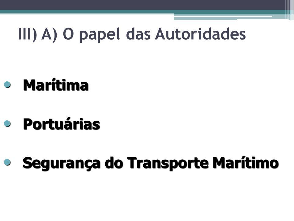 III) A) O papel das Autoridades