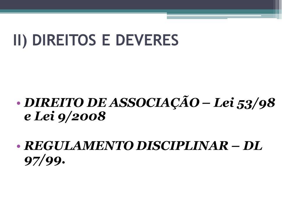 II) DIREITOS E DEVERES DIREITO DE ASSOCIAÇÃO – Lei 53/98 e Lei 9/2008