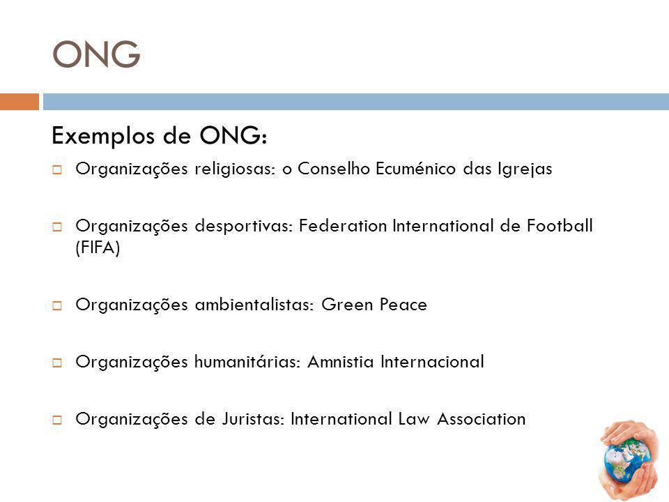 ONG Exemplos de ONG: Organizações religiosas: o Conselho Ecuménico das Igrejas.
