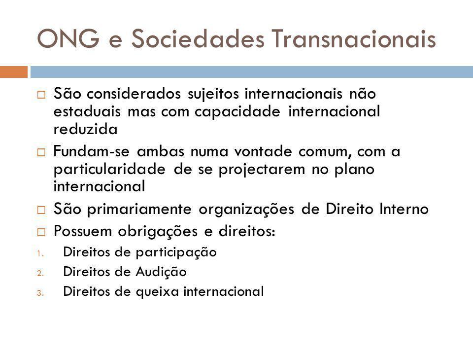 ONG e Sociedades Transnacionais