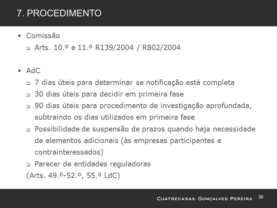7. Procedimento Comissão Arts. 10.º e 11.º R139/2004 / R802/2004 AdC