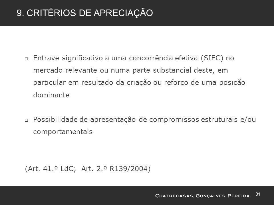 9. Critérios de apreciação